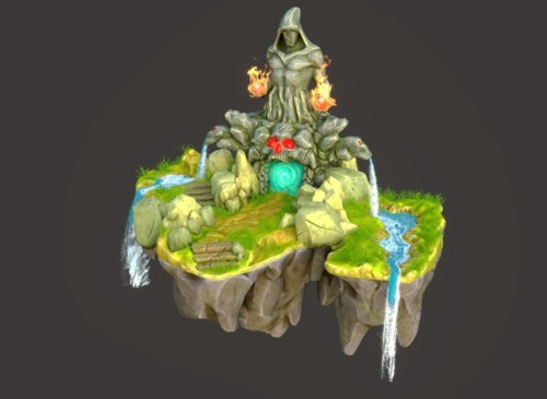 Fantasy hand painted flying island by Andrew Krivulya